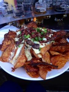 beer flight and nachos